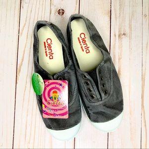 NWT Cienta 'Distressed Grey' Slip-On Sneakers